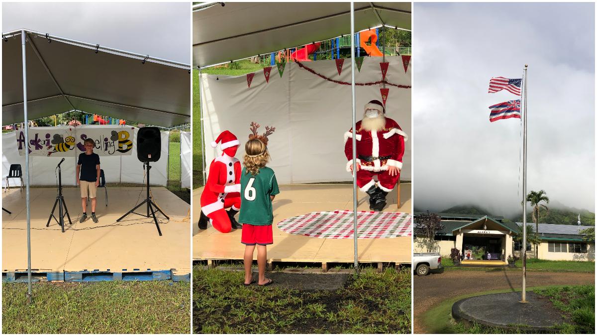 Alaka'i O Kaua'i campus collage: spelling bee, Santa visit, flagpole