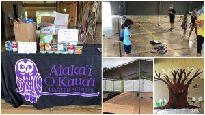 Alakai O Kauai campus collage: food donation table, learners play pickleball, outdoor classroom build
