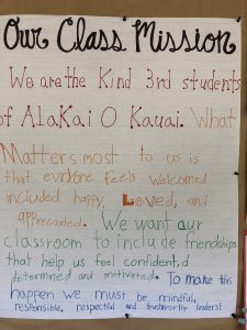 Alakai O Kauai 3rd grade mission statement sign