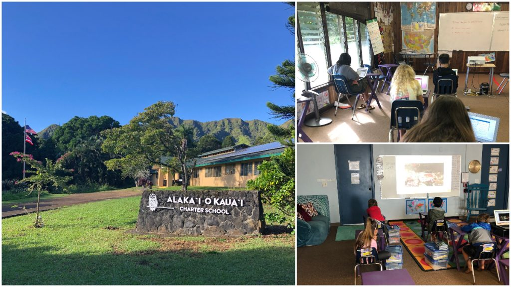 Alaka'i O Kaua'i Charter School campus collage with learners in classroom
