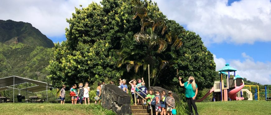 Alaka'i O Kaua'i Charter School learners and facilitator outdoor campus