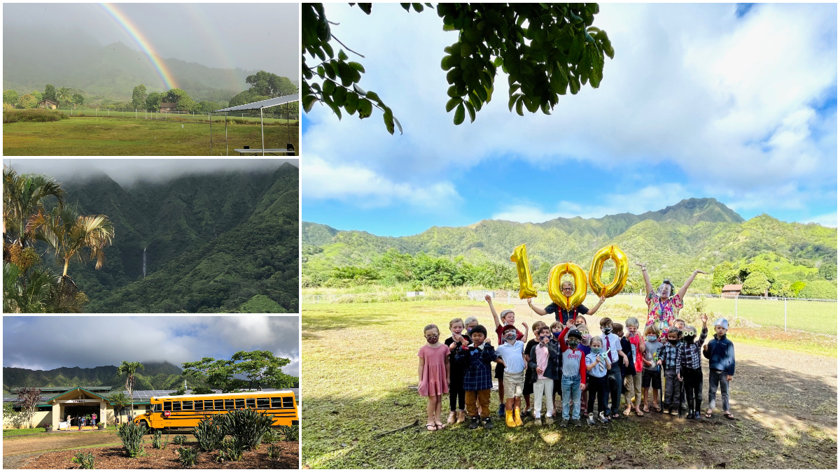 Alaka'i O Kaua'i outdoor campus views and learners celebrate 100 days of school