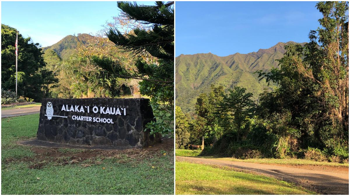 Alaka'i O Kaua'i Charter School sign and road