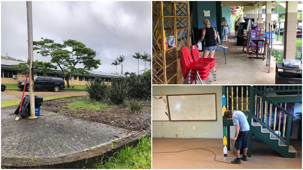 Alaka'i O Kaua'i Charter School campus cleanup day